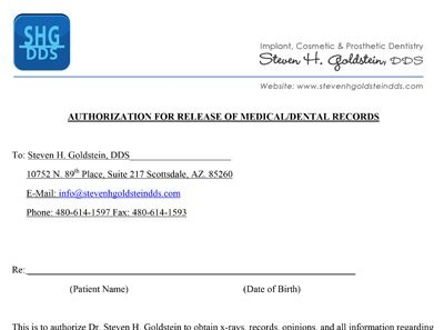 Print Dental Records Release Form for Dr. Goldstein's Patients